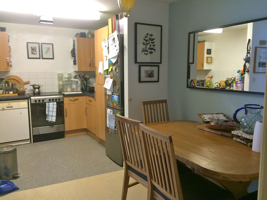 Double size kitchen with dinner table