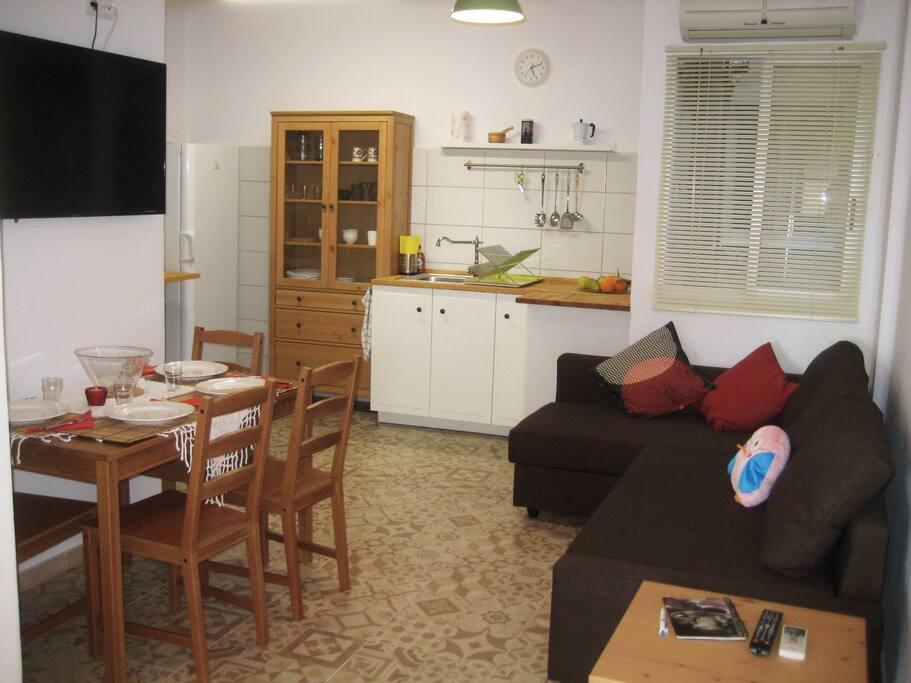 living - dining room - kitchen open floor plan