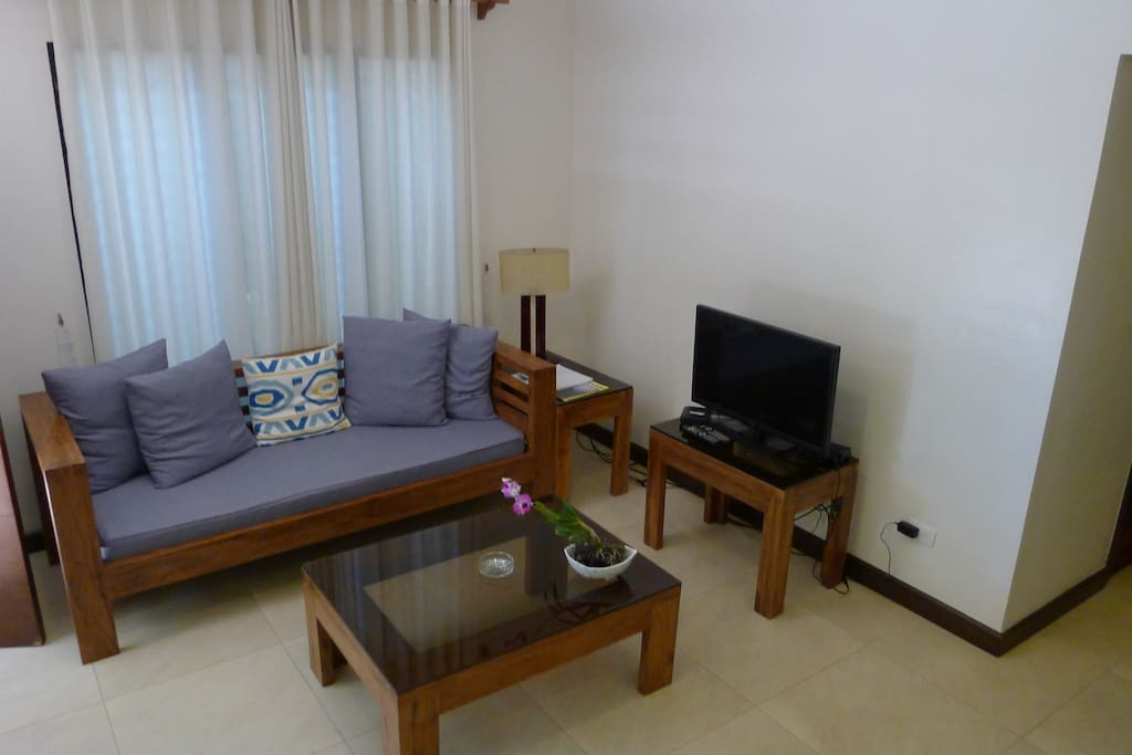 Room comes with living room set that seats 4 people, 32 inch TV and WiFi.