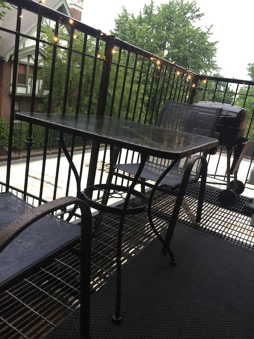 Large private balcony just right outside the kitchen.  Charcoal grill accessible!