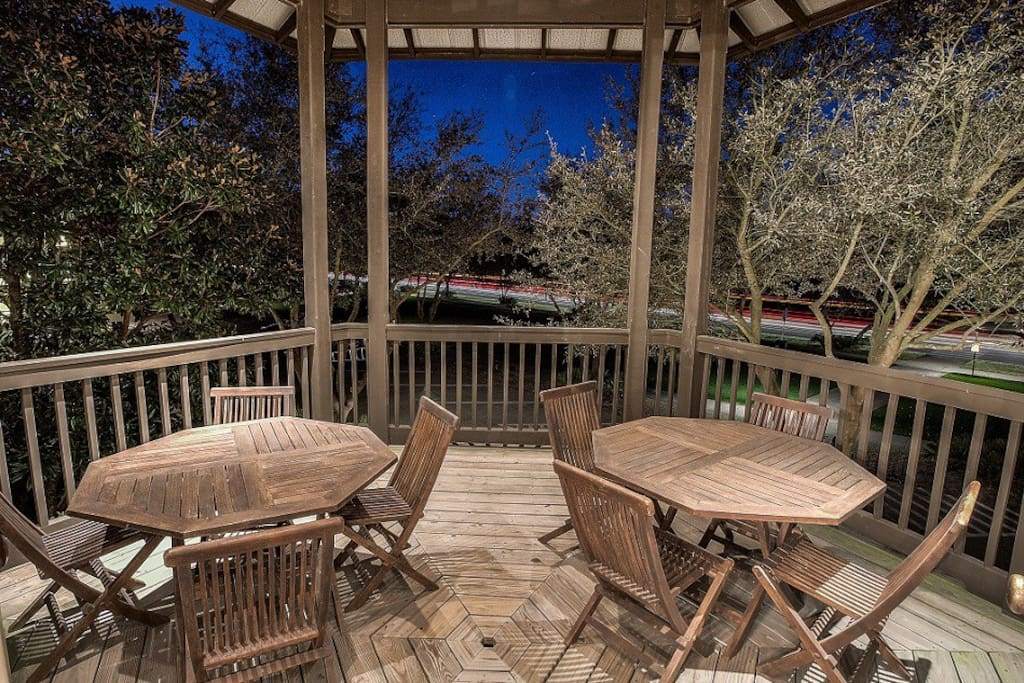 Large second floor porch perfect for outdoor dining or morning coffee