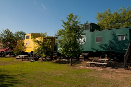 """Train Car at The Antlers Inn """"Yellow Caboose"""""""