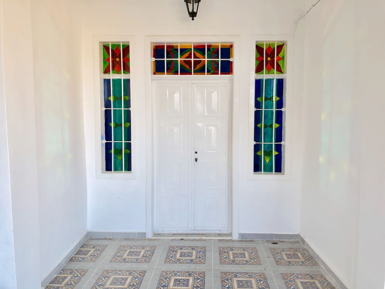 An old hand painted stained glass