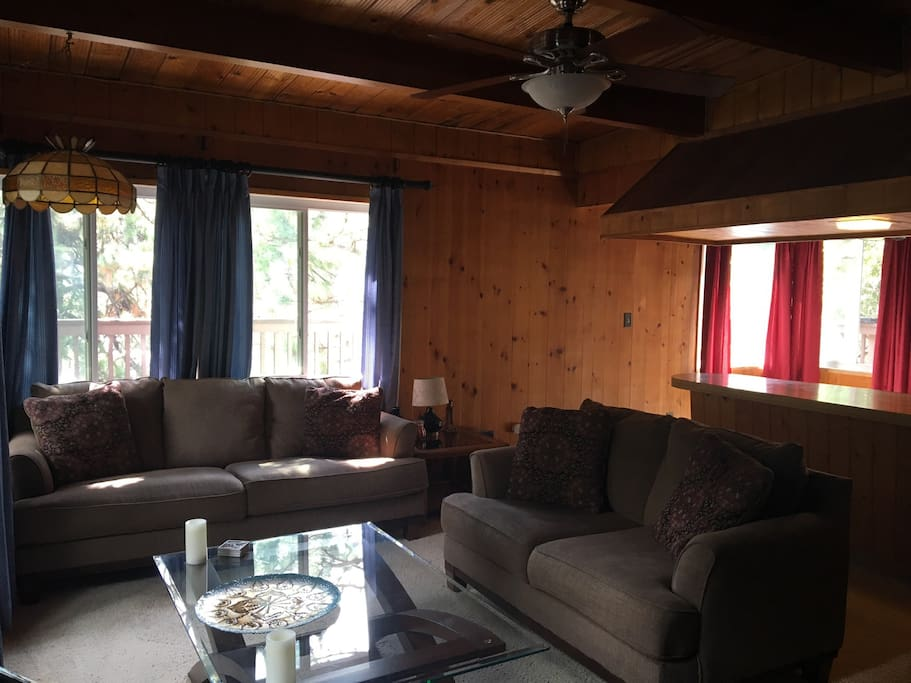 Comfortable couches at your cabin retreat.