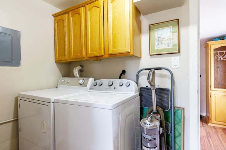 Laundry room contains Washer, Dryer, Iron & Ironing board. Stocked with laundry detergent.