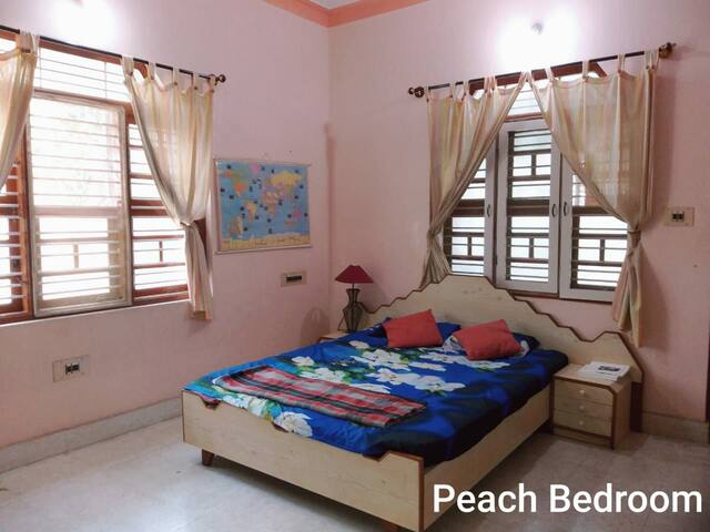 Peach Color Spacious Bedroom with Balcony