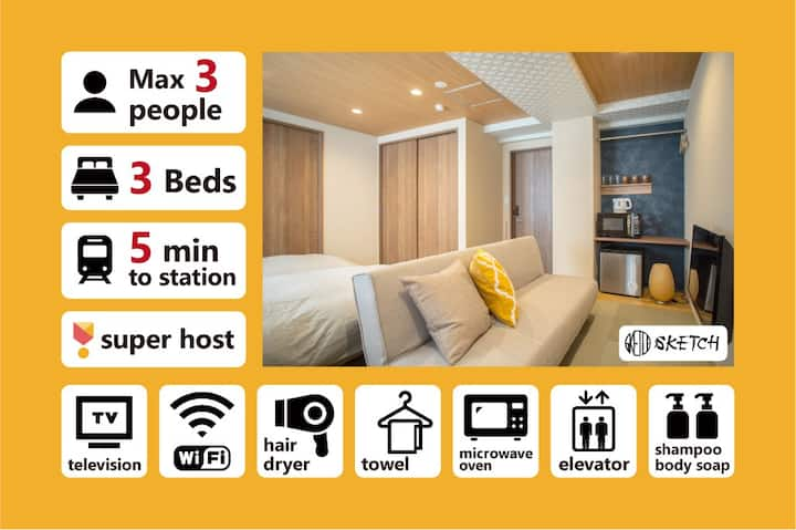 [KOB] Chic Downtown Gion Apartment for 3 Guests