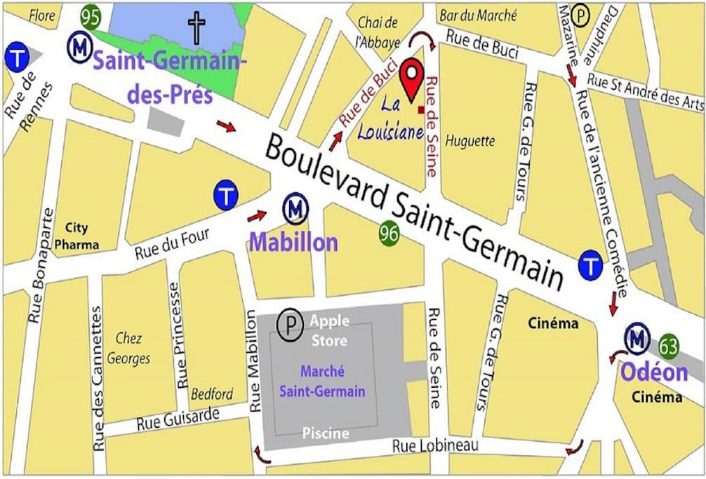 Access map to Hotel La Louisiane