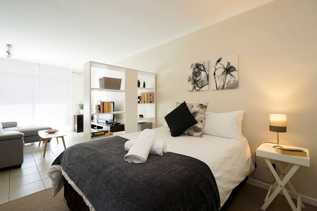 Open plan bedroom and living area