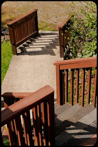 """Main stairs from the parking area leading to both units; """"Bull & Cow"""" at Elk View Lodge Estate."""