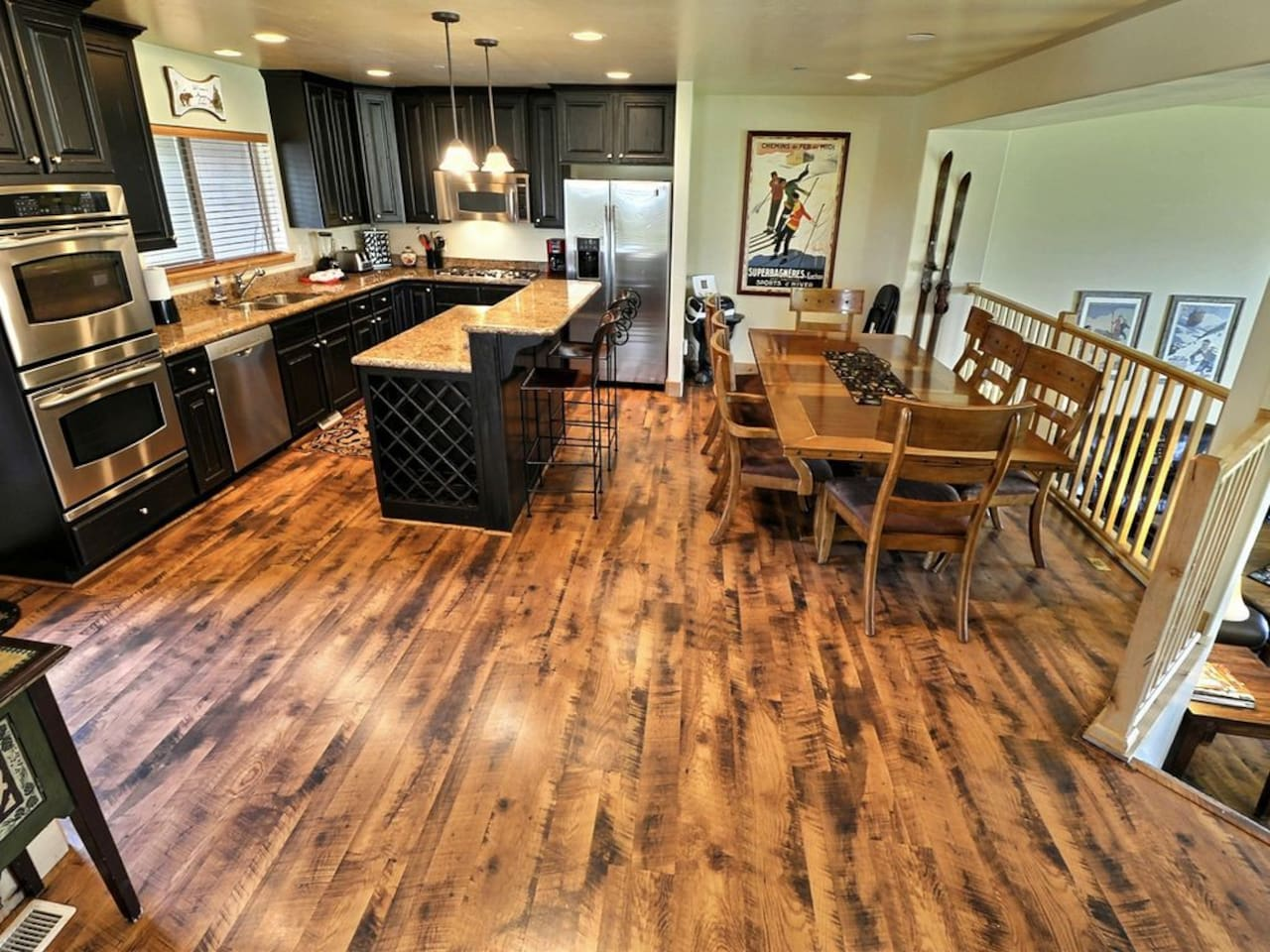 Gourmet Kitchen with Dining Bar and Dining Table