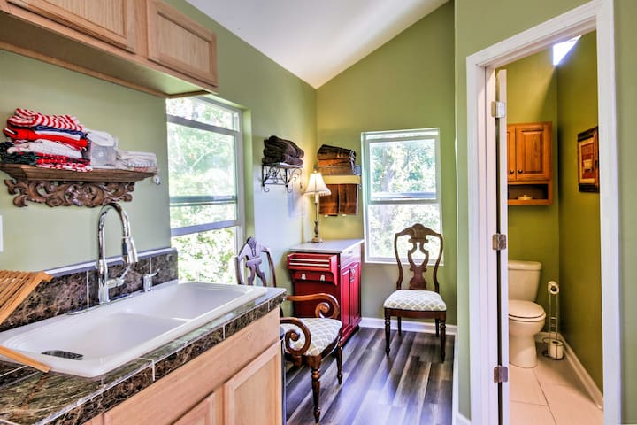 A sweet breakfast nook offers a great place to enjoy your morning coffee.