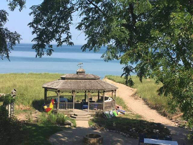 Indiana Beach House - 6 bedroom home on lake Michigan.  Private gazebo down by beach and no stairs to get to the Lake!