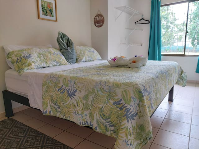 Beautiful master bedroom with comfortable king size bed, orthopedic mattress and and A/C