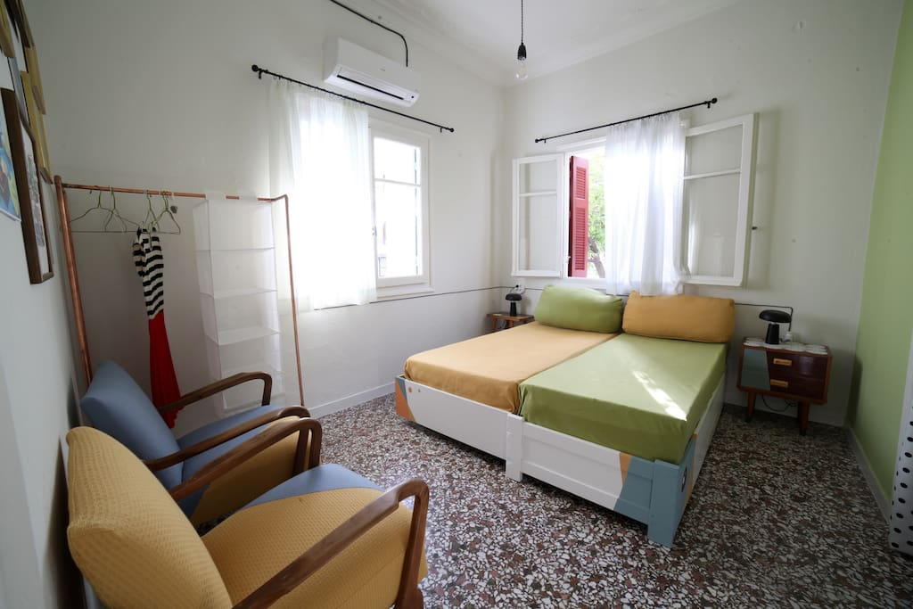 Haralampos' triple bedroom- 1st space. Twin beds.