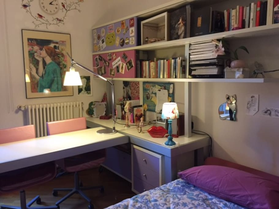 the writing table and the library