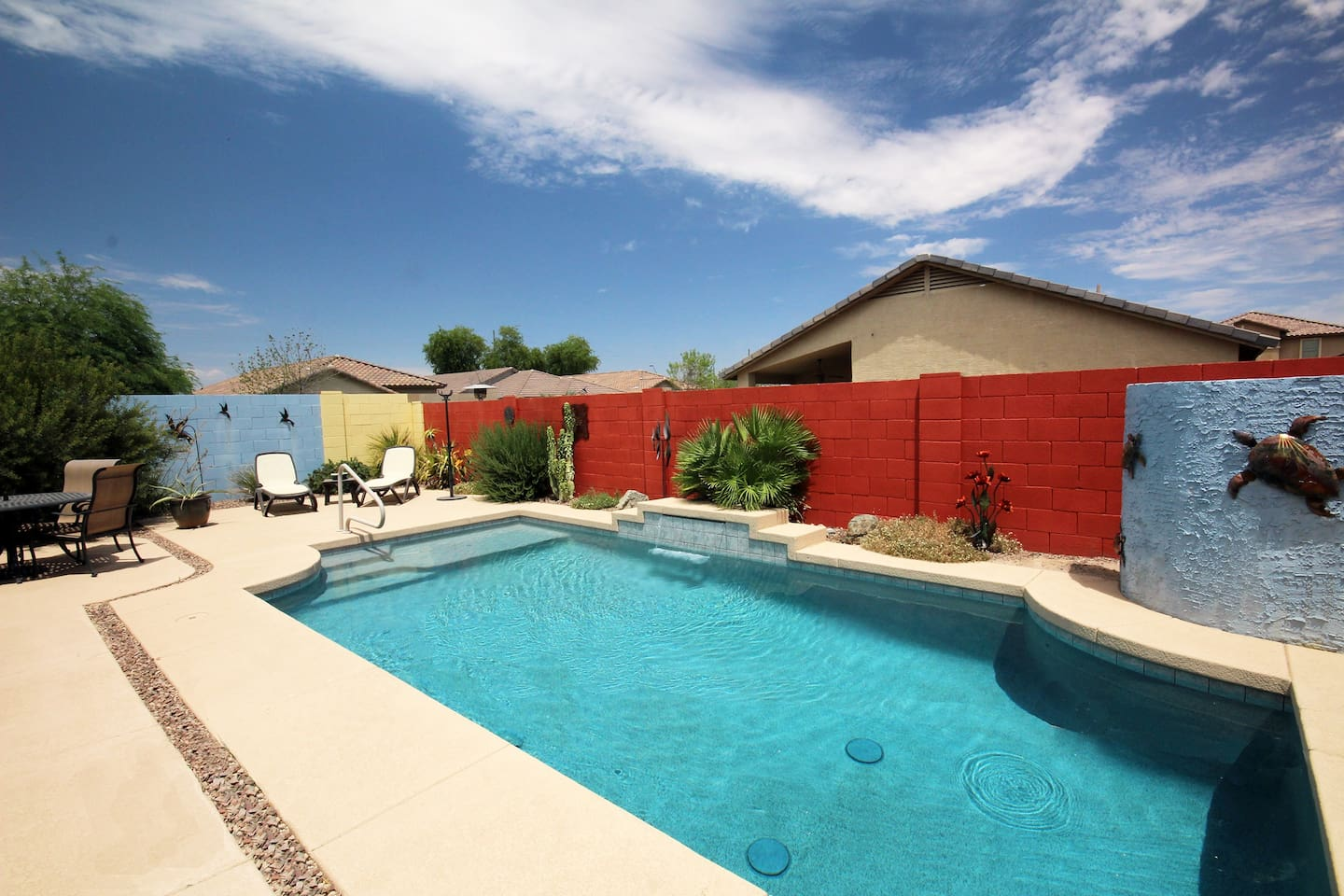 Relax and enjoy the refreshing pool.  The bright colors make for great photos to remember your time in San Tan Arizona.