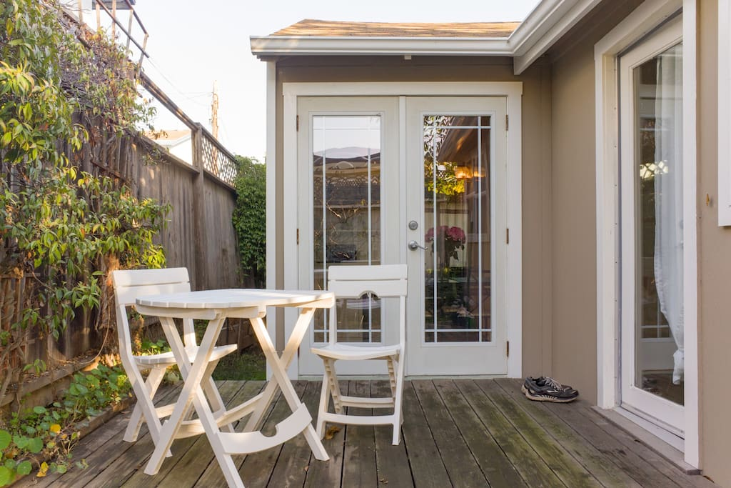Enjoy your coffee outside on a private patio.
