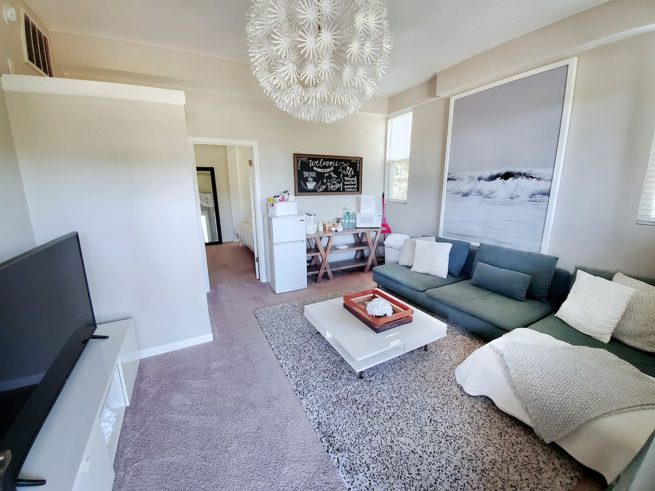 Amazing Sofa And The Most Comfortable Throw Rug You'll Ever Feel! Ultra Thick! Kitchenette in back corner!