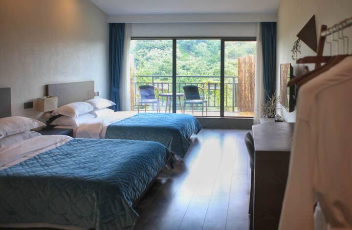 乐山景雅致双床房-陶然美岕-超大落地窗,配有观景露台饱览绿意-户外烧烤、垂钓-私家花园-含2份早餐
