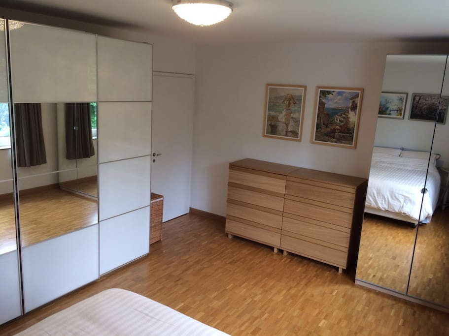 This pic shows bedroom from other angle - it is quite big.  Guests can use closet on the right