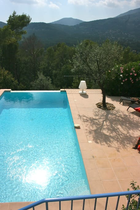 Heated pool with panorama view of the mountains and the Provencal village Seillans.