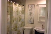 Bathroom with shower/king basement suite.
