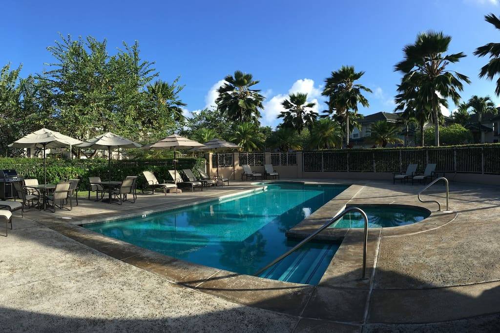 Complex pool, spa & BBQ area at top of the property.  No noise from the unit.
