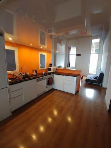 loft 90 m2 (1) + terrasse + véranda - ch. privée