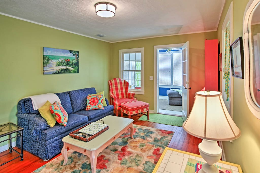 Vibrant colors create a cozy, eclectic vibe.