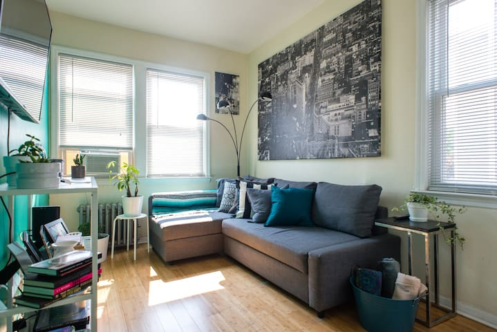 Second private room, couch turns into a bed and sleeps two. Upon request, this bed can be made up before your stay. Air conditioner in room during summer months. HDMI cable available for TV use. Room has a door and closet.