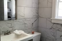 Modern, newly-renovated bathroom