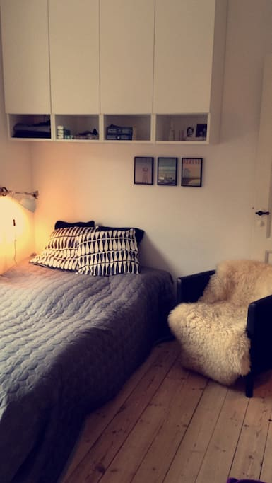 Bedroom. It is a small doublebed, 130 cm, but it fits two persons