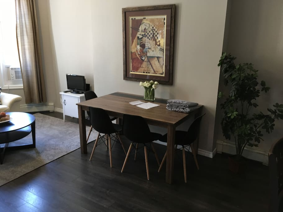 New dining table that makes a great work surface.