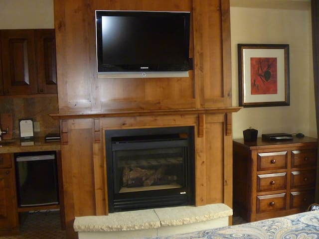 Bedroom TV and gas fireplace.