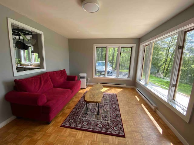This room has probably the best view of the lake, sunsets, and the birds,  that put up a show for you every morning. The couch is a pull out,  and can comfortably sleep 2 extra guests, if necessary.