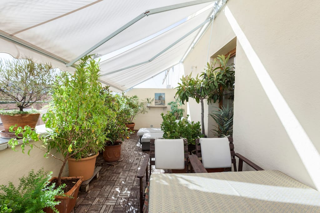 Terrace, in total 40 sqm., beautiful with a lot of plants, to enjoy Madrids good weather!