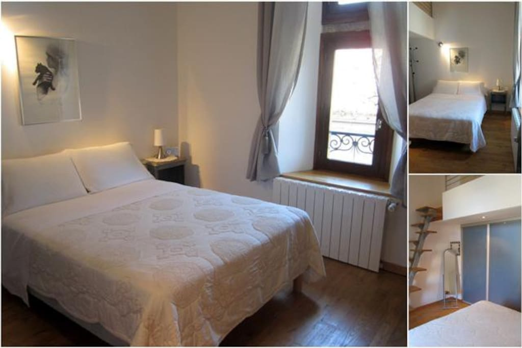 Chambre 1 lit double et 1 lit simple en mezanine