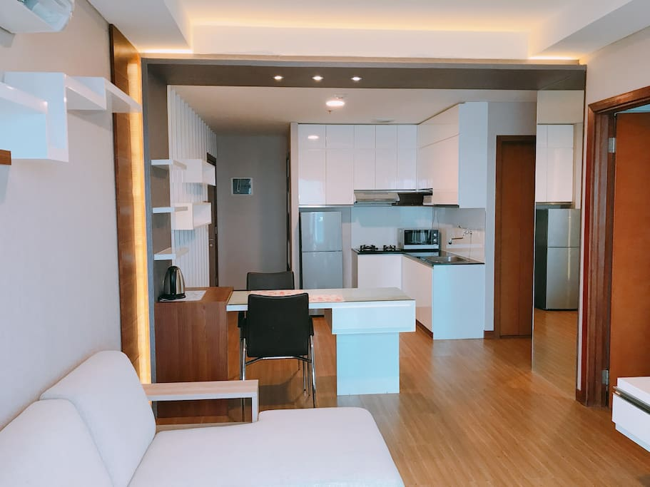 Living, dining, kitchen area