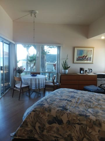 Spacious guests suite with view of Ocean and pier.
