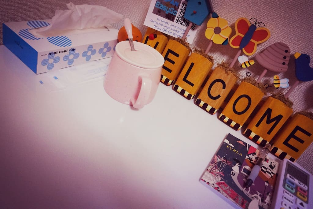 Welcome board and cute cup!