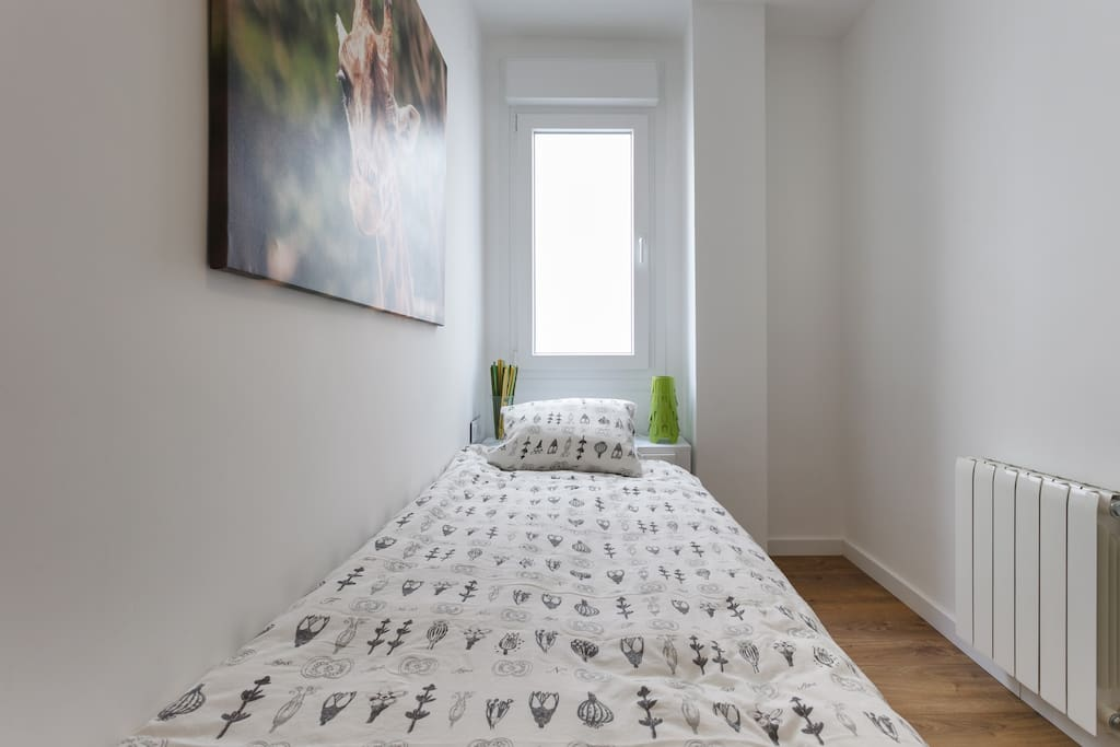 The bedroom with single bed layout, gives you more space if occupying alone