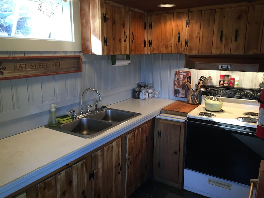 Completely stocked kitchen for those who wish to prepare meals at home.