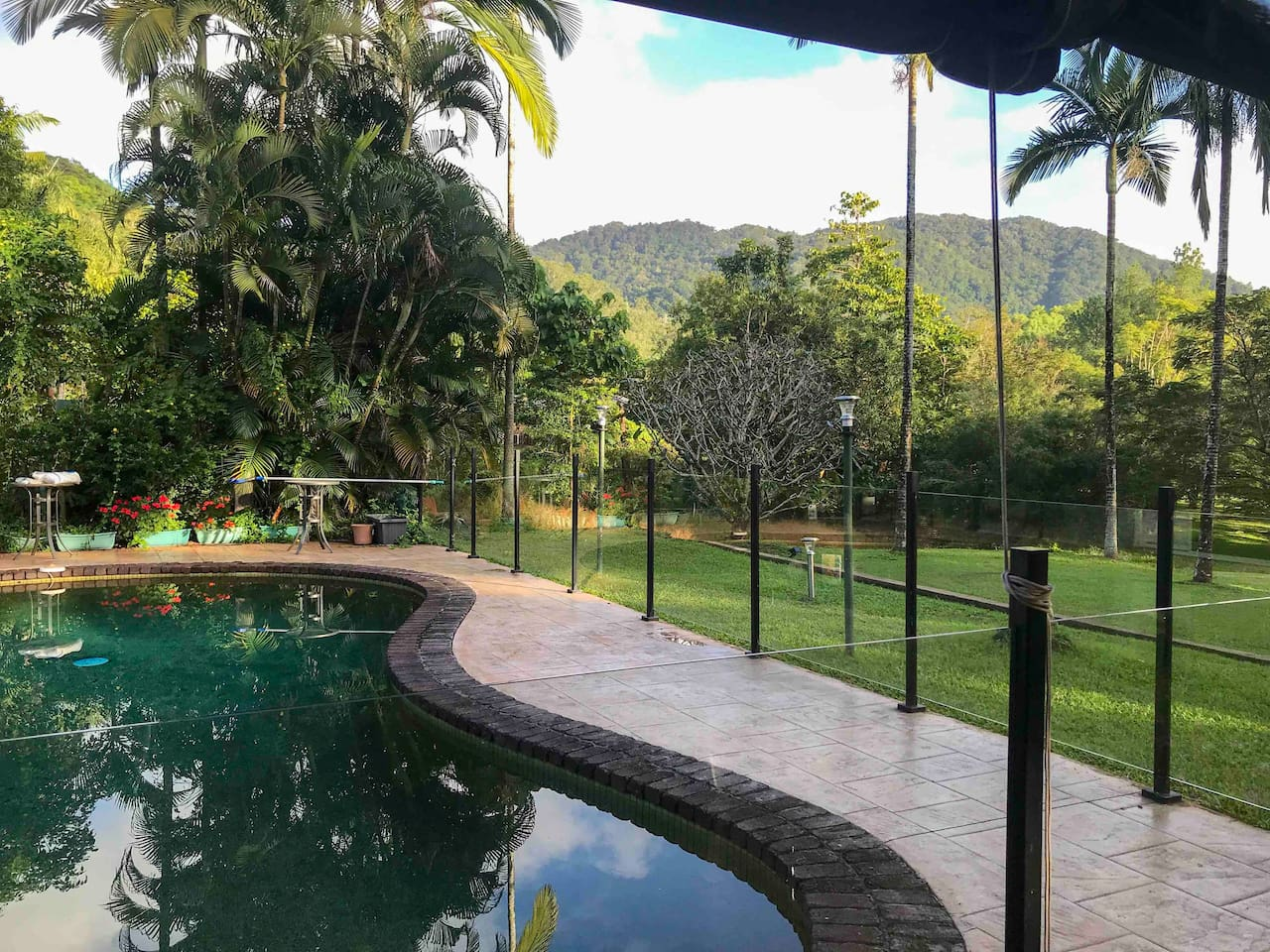 Large deep swimming pool for your use overlooks the acreage with rainforest mountain background