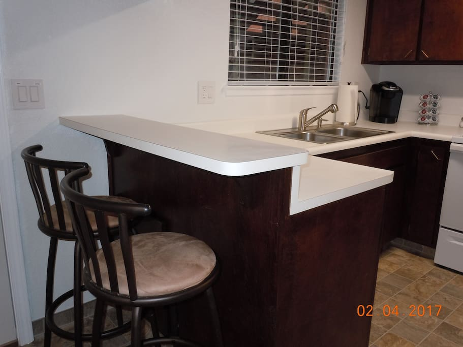 Bar top counter eating area