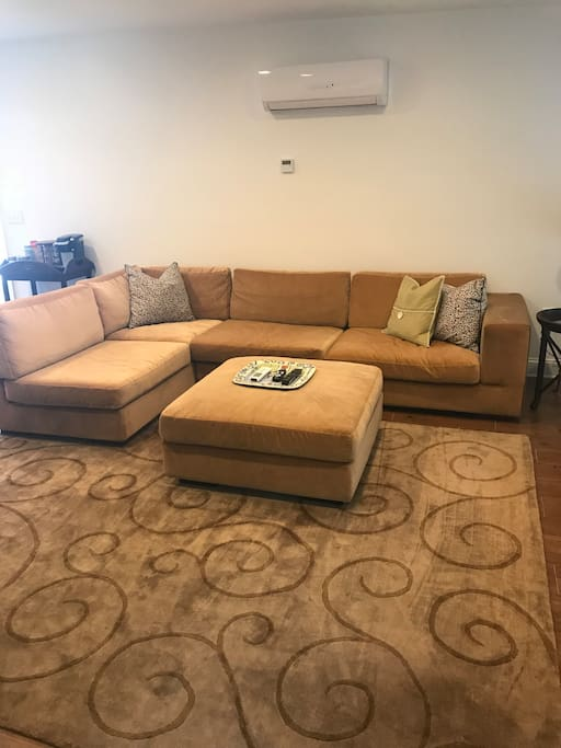 Living room - cozy sectional sofa with ottoman
