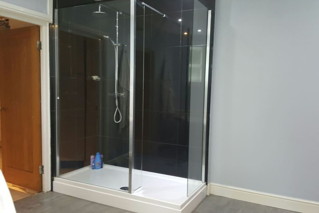 fabulously large shower in bathroom