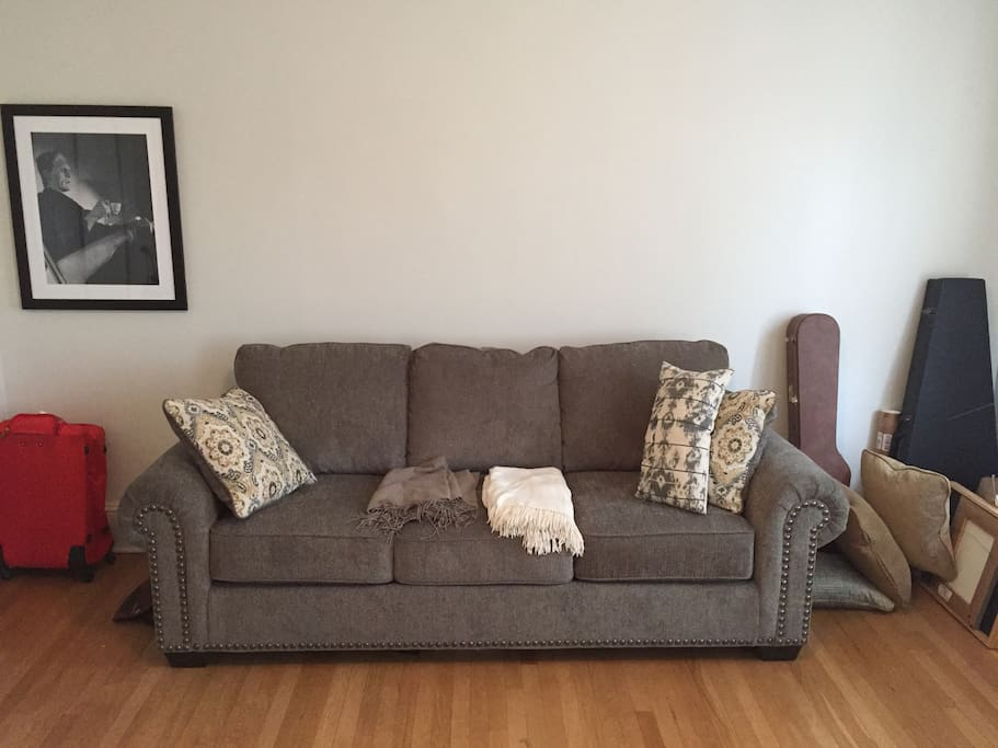Brand new sofa bed, bought in fall of 2016, bed has only been used once so far! (reported to be an above average sofa bed with regard to comfort).