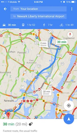 Distance and Typical travel time between Newark International Airport and our home.