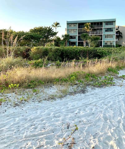 It's the ground floor condo on the left .Direct backdoor access to the beach.